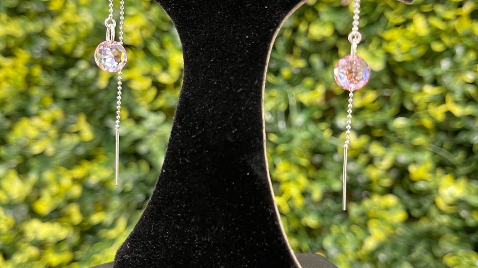 Crystal Thread Earring - Pink