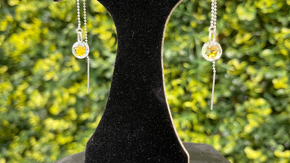 Crystal Thread Earrings - Clear