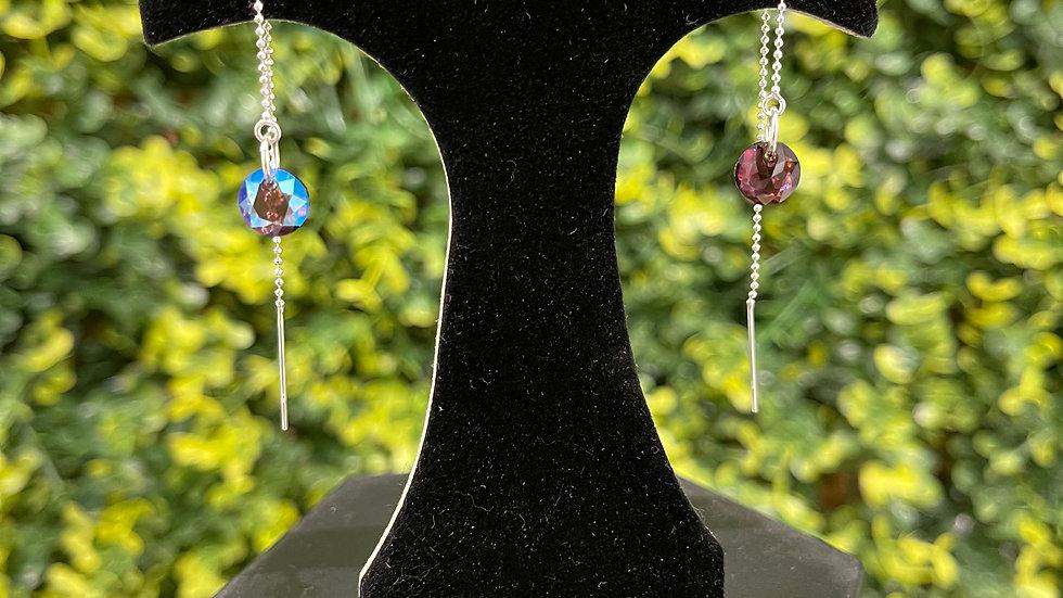 Crystal Thread Earrings - Plum