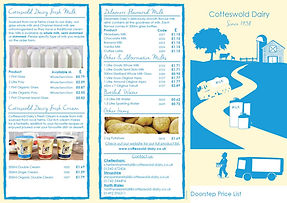 Cotteswold Dairy Doorstep Price List