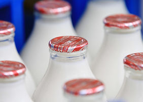 Cotteswold Dairy glass milk bottles