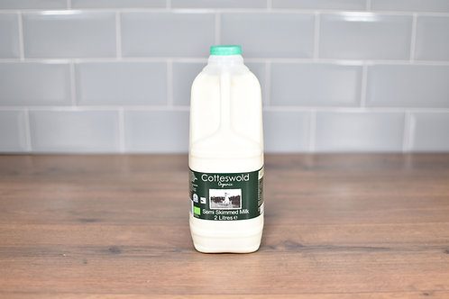 COTTESWOLD DAIRY ORGANIC SEMI-SKIMMED MILK 2 LITRES