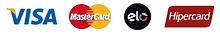 Formas de pagmento: Cartões Visa, MasterCard e ELO