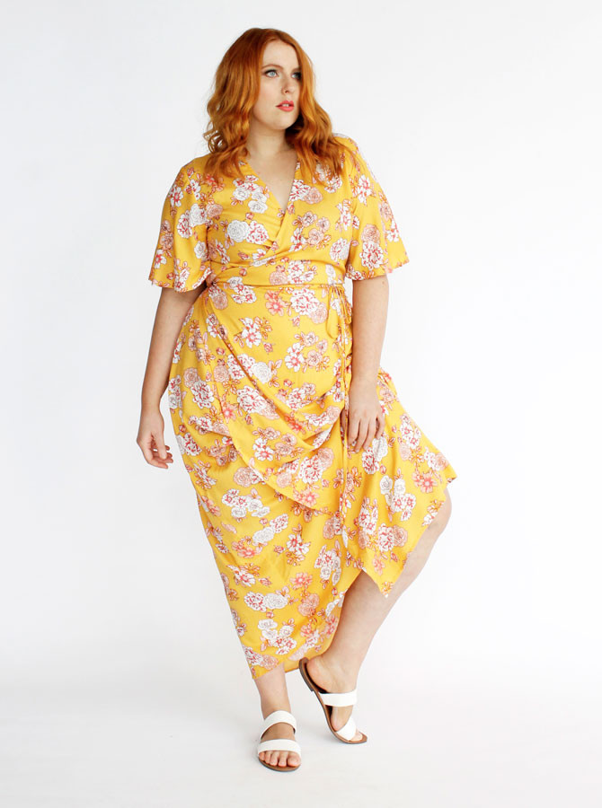 Hadley Maxi Wrap Dress- Yellow Blossom