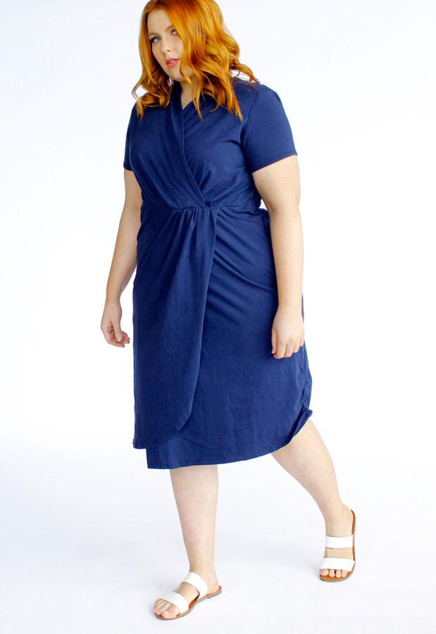 Harper Midi Wrap Dress-Navy