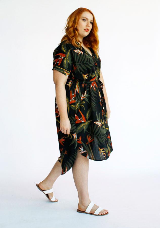 Juno Shirt Dress- Palm