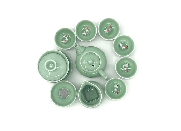 Koi Celadon Tea Set