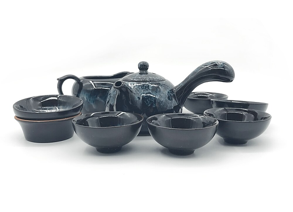 Chinese Tea Set Tianmu Glaze Jun Kiln Porcelain