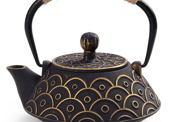 Antique Cast Iron Tea Pot With Tea Strainer