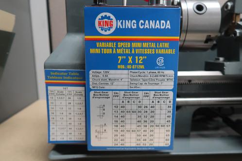 King Canada 7 X 12 Metal Lathe