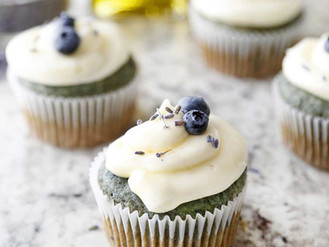 Lavender Blueberry Olive Oil Cupcakes with Champagne Frosting