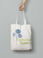 Tote bag branded with a florists logo