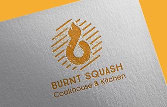 Relief cut logo design for Burnt Squash, local restaurant concept