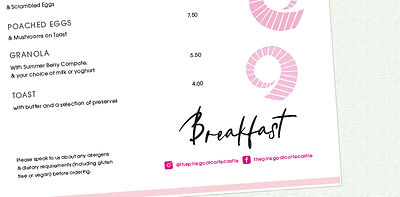 Close up of Menu Design and layout | Pink Goat