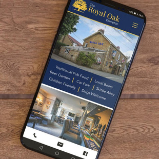 Branded Pub website design on a mobile phone