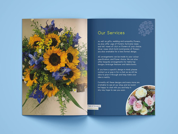 Inside of a florists brochure