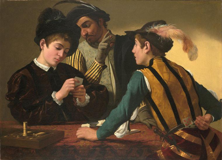 Partida de cartas. Escena de juego. Ludopatía. Caravaggio.