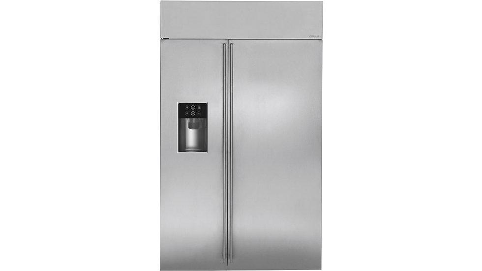 美國 GE奇異 MONOGRAM 48吋崁入式對開門冰箱 |  ZISS480D | 皇室旗艦款全機不繡鋼製冰機系列