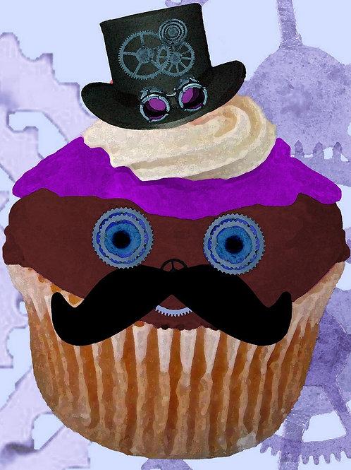 Steampunk Mustache Cupcake