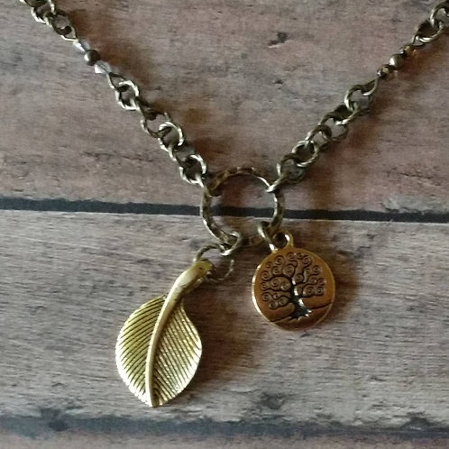 TREE of LIFE golden leaf CHARM Necklace