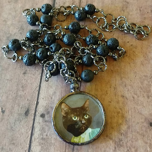 Victorian Feline LONG CAT Lady NECKLACE altered art digital anthro