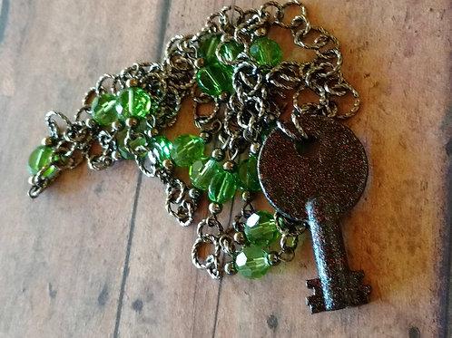 Antique Skeleton Key NECKLACE barrel beaded Czech green glass bohemian Victorian