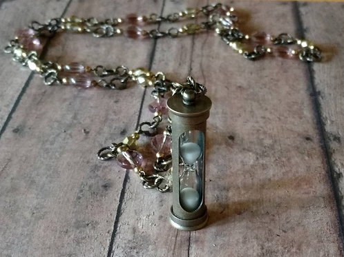 Long brass HOURGLASS Necklace