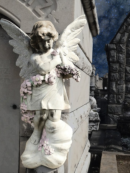 Lonely Angel watches over Graveyard Tomb Landscape