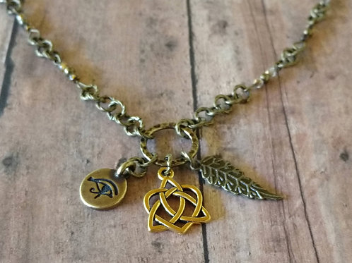 Triquetra Celtic knot EYE of HORUS Feather CHARM Necklace