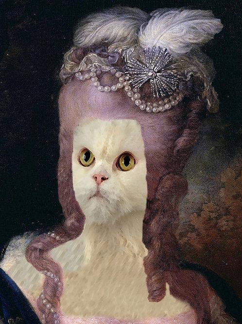 Queen Marie Antoinette in Persian Cat altered Portrait