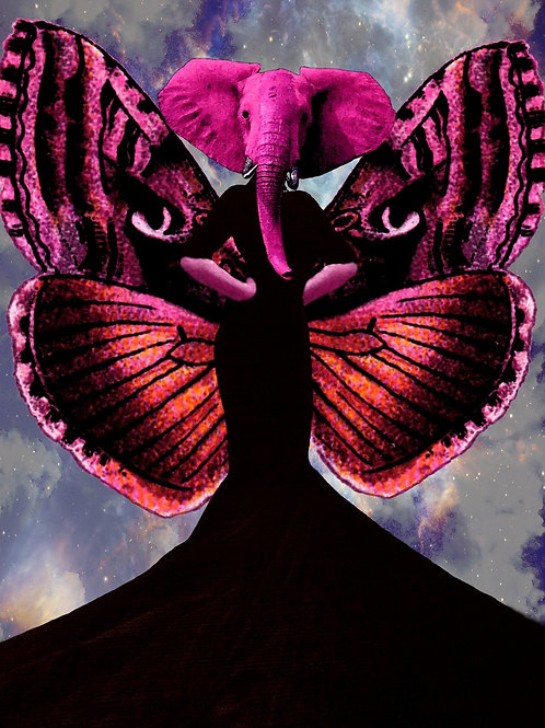 Victorian Pink Elephant on Butterfly Wings