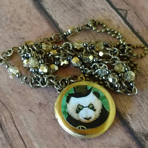 Steampunk PANDA cogs gears goggles Long Locket NECKLACE altered art digital anth