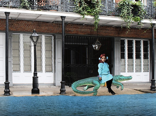 Victorian Girl rides Carousel Alligator through Flooded French Quarter Streets