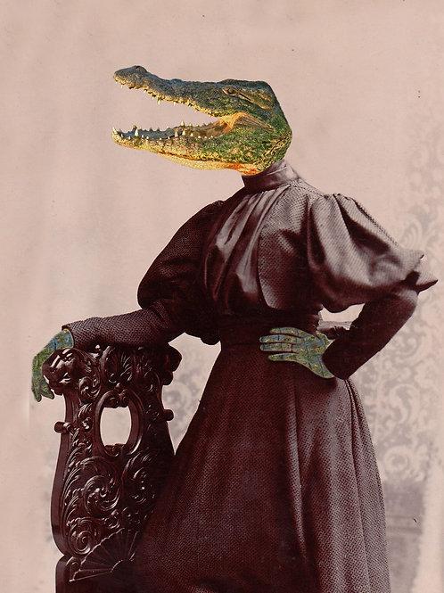 Victorian photograph art of Louisiana Alligator