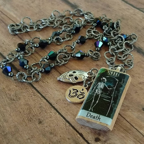 Death TAROT card skull Ohm antique silver CHARM Necklace