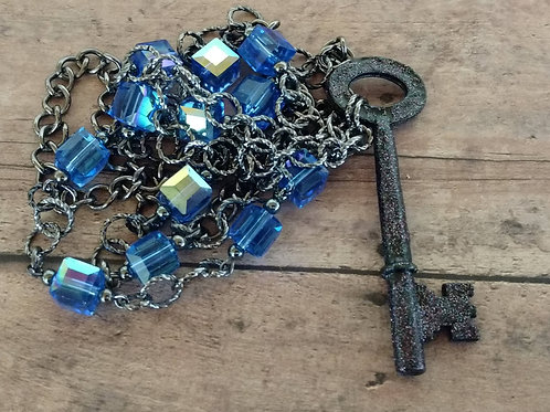 Antique Skeleton Key NECKLACE blue cubed beaded Czech glass bohemian Victorian