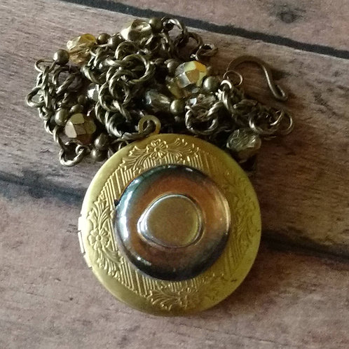 Brass Talisman GLASS EYE Necklace beaded gypsy boho steampunk