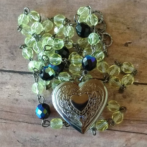 Heart ROSARY LOCKET lemon lime boho steampunk NECKLACE
