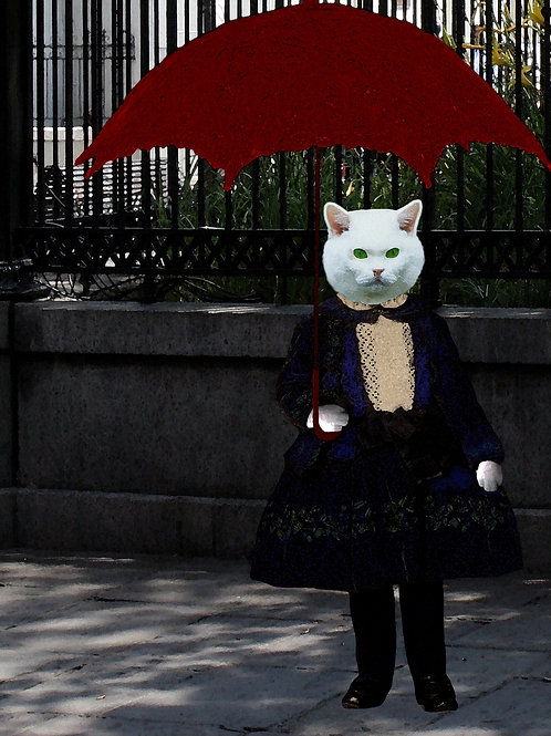 Victorian art anthro WHITE KITTY in New Orleans with her Red Parasol
