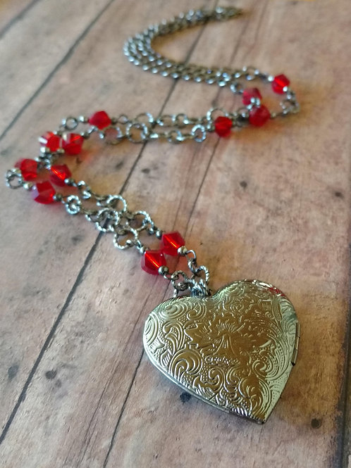 Gunmetal HEART LOCKET red Czech glass Necklace