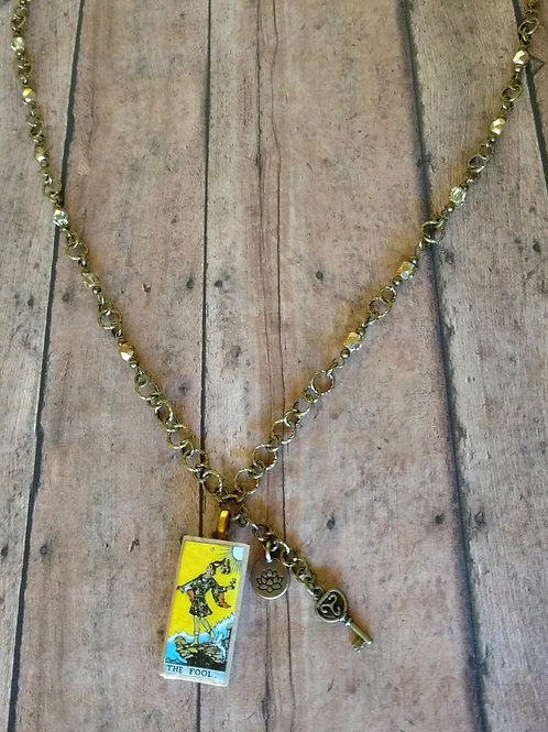 The Fool TAROT card Triquetra Lotus brass CHARM Necklace