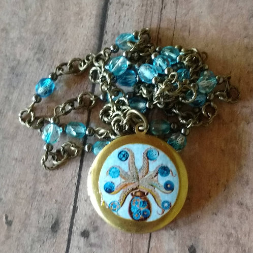 STEAMPUNK OCTOPUS Long tentacle Locket NECKLACE altered art digital anthro