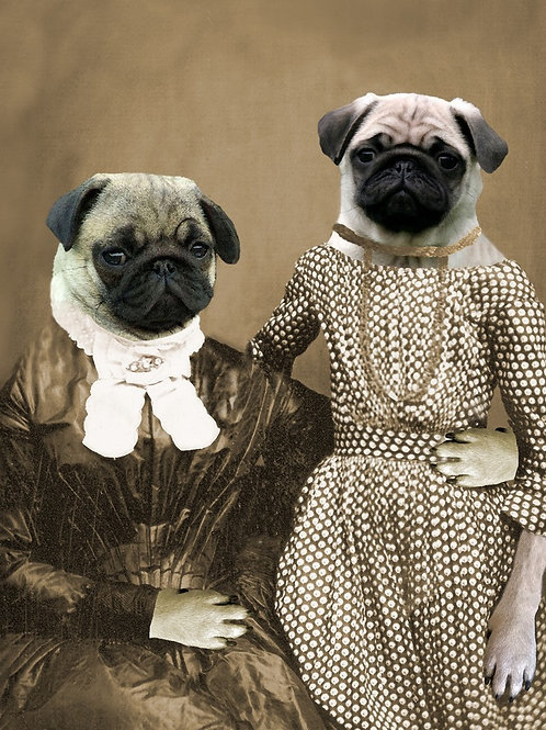 Mother Daughter Pug portrait from art photograph
