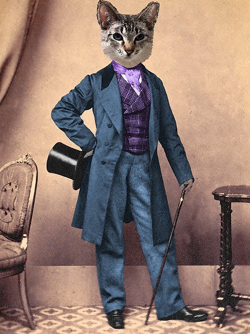 Steampunk Siamese Cat with Top Hat and Cane