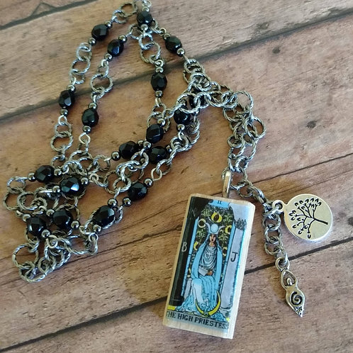 High Priestess TAROT Spiral Goddess tree of life antique silver CHARM Necklace