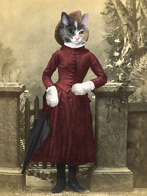 Calico cat portrait in Victorian fashion with Parasol