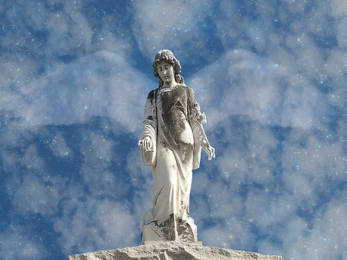 Supernatural Surreal Angel Statue with Blue Sky Wings