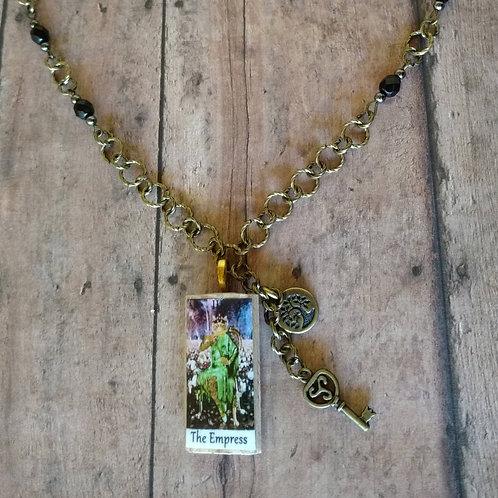 The Empress TAROT card Spiral Goddess Tree of Lilfe brass CHARM Necklace