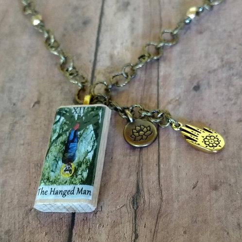 Hanged Man TAROT card Hamsa Hand of Fatima Lotus brass CHARM Necklace