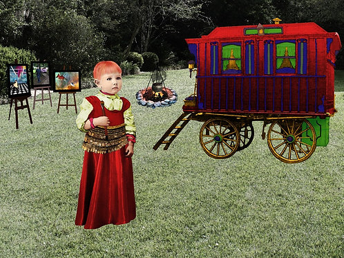 Romani Gypsy Girl and her Wagon of Traveling Art